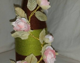 Custom twine wrapped wine bottle with climbing rose / upcycled bottle/ string covered / bud vase / candle holder / ornamental / home decor
