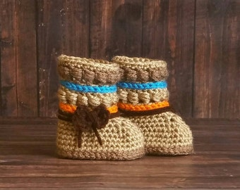 Baby Booties, Native American Boots, Crochet Baby Moccasins, Crochet Baby Booties, Baby Slippers, Newborn Booties, Toddler Slippers, Mukluks