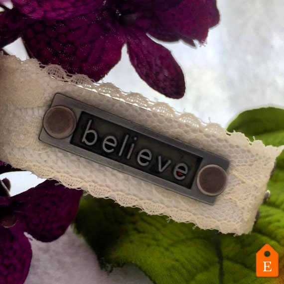BELIEVE Leather and Lace Cuff, Leather Wrist Cuff, Sports Jewelry, Inspirational Jewelry, Believe Lace Bracelets, CrossFit Charms Gifts