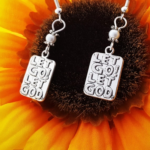 Christian Jewelry, Let Go and Let God Pearl Earrings, AA Higher Power, Alcoholics Anonymous Gift, Prayer Word Charm, Inspirational Quotes