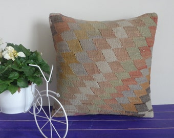 16x16  kilim pillow hand woven pillow wool cushion - 083a