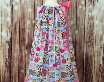 Shopkins dress, Shopkins Pillowcase dress, Shopkins toddler dress, Shopkins all around dress, Girls Pillowcase dress