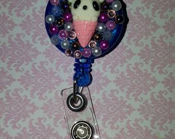 Kawaii Panda Ice-cream Badge Reel (blue)