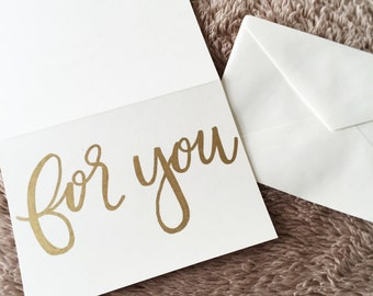 """handwritten """"for you"""" calligraphy card"""