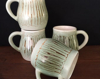 Set of 4 stunning Australian 1960's pottery mugs by slyha
