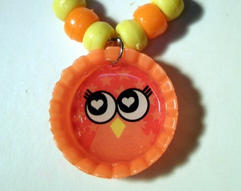 Bottle Cap Owl Necklace