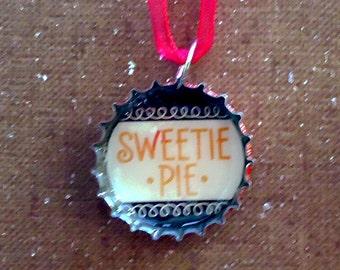 Sweetie Pie Bottle Cap Ribbon Necklace