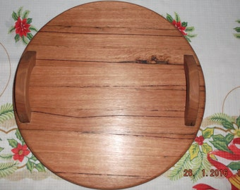 Bespoke Hand Made Solid Round Hardwood Serving Tray