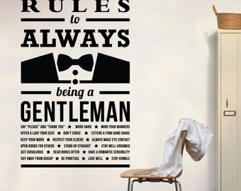 WD101038 | Gentleman Rules - Hall, Corridor Wall Art Sticker