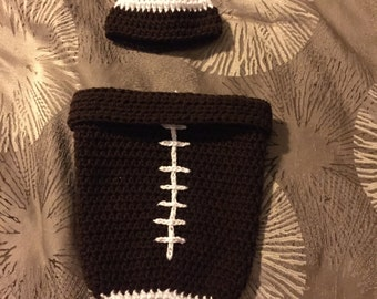 Baby crochet football coccoon