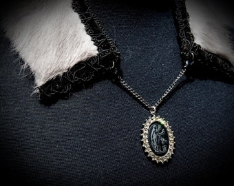 Grey Rabbit Fur Necklace with Black Cameo