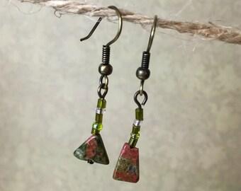 Asymmetrical Green Marble Semi-Precious Stone Bronze Earrings