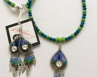 Beaded Necklace with Thread Pendant & Earrings