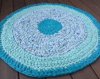 Rag rug, crochet rag rug, teal blue rug, cottage rug, round rag rug, rudtic rug, recyvled rug