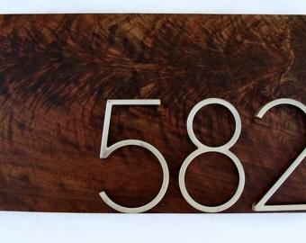 Modern Figured Walnut Address Plaque- Custom- House Numbers Sign- Modern House Numbers- Housewarming Gift