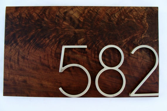 Modern Figured Walnut Address Plaque- Custom- House Numbers Sign- Modern House Numbers- Housewarming Gift