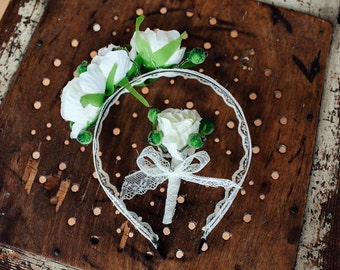 Wedding headband, Bridal Headband, Bridal Hair Accessory, Flower headband, Wedding hair Accessory, Flower Crown, boutonierre (for free)