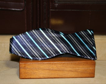 Navy and Blue Striped Silk Bow Tie