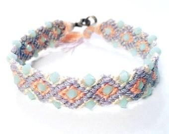 Pastel Beaded Friendship Bracelet | Embellished Woven Bracelet