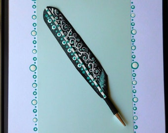 Aqua dots for gift giving. Handpainted with love. Real feather.