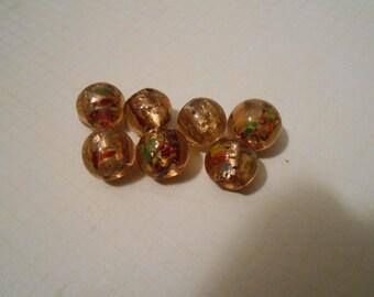 Set of 7 Gold Lampwork Beads 12mm