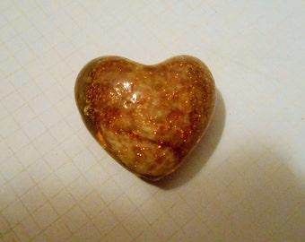 Gold Glitter Lampwork Heart Bead 28mm