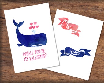 Printable Watercolor Whale Valentine's Day Card- INSTANT DOWNLOAD, Nautical Valentines Print