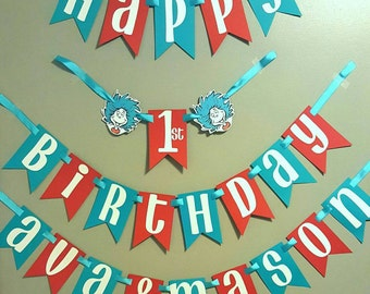 Thing 1 and thing 2 birthday banner, dr seuss birthday decorations