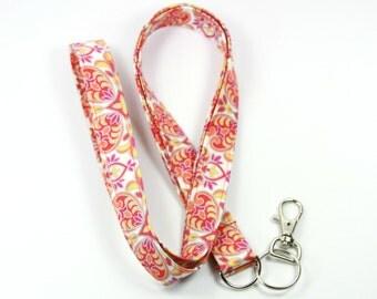 FLOWER Fabric Lanyard, Orange Lanyard, Peach Badge Holder, Shinny Lanyard