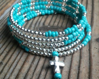 Turquoise and silver cross bracelet