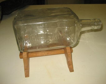 "P. BOKMA Distillers Holland 9 1/4"" Bottle with wood stand/for ship in a bottle or terrarium"