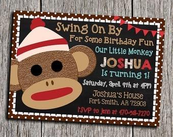 Sock Monkey Birthday Invitation - Digital Printable Personalized 5x7 Sock Monkey 1st Birthday Invite - DIY Sock Monkey Birthday Invitation