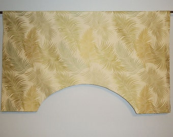 "39 - 43"" Upholstery Viscose Sage Gold Fern Tropical Custom Valance, Ivory"