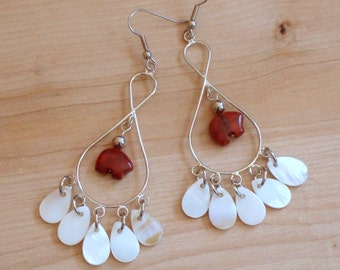 Chandelier Red Bear Earrings with Shell Drops