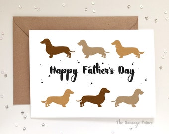 Happy Father's Day sausage dog greeting card A6