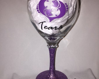 Best Friend Wine Glass with Zodiac Sign