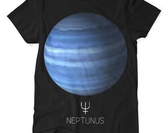 Neptune Planet TShirt Black