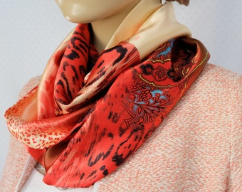 Silk ivory and Red satin scarf