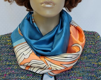 Salmon and blue silk-satin scarf