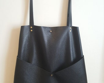Black Leather Tote/ Leather Shoulder bag / handmade leather goods