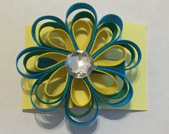 Blue, Green and Yellow Flower Barrette