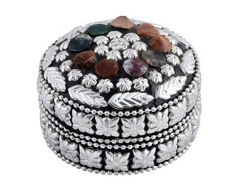 Jewellery Box - 3 Piece Set - With Real Semi-precious Agate Stone - Handmade - Ornament