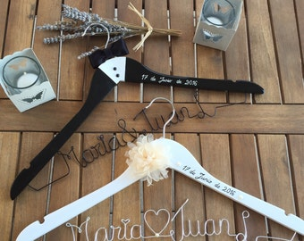 Couple hangers for bride and groom custom order