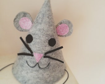 Girls grey mouse party hat