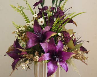 Silk Flower Arrangement, Purple Lilies and Purple Delphinium in a Cream Vase