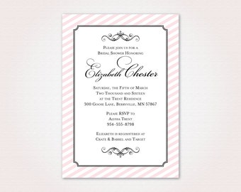 Classic Pink Bridal Shower Invitation