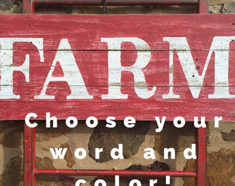 """16 1/2""""x43"""" 2 Color Reclaimed Wood Sign - farmhouse sign - farm sign - distressed - large wood signs"""