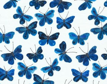 SALE 5% OFF - Cloud9 Fabrics - Organic Cotton - Moody Blues - Butterflies White - Voile by the Yard