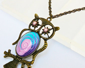 Purple pink OWL necklace