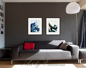 """Original Abstract Painting, Contemporary Art, Set of 2 painting, Modern Painting on Paper 11""""x15"""""""